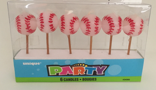 Pack of 6 Baseball Candles