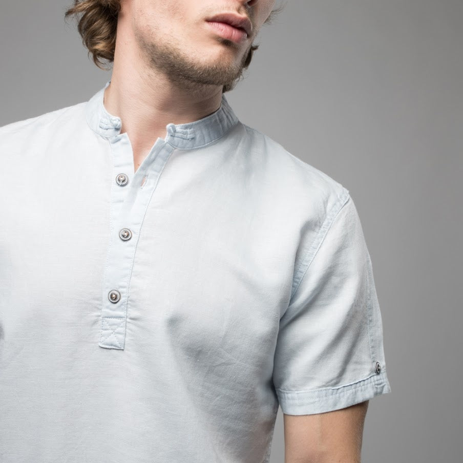 Vincenzo Mandarin Collar Shirt