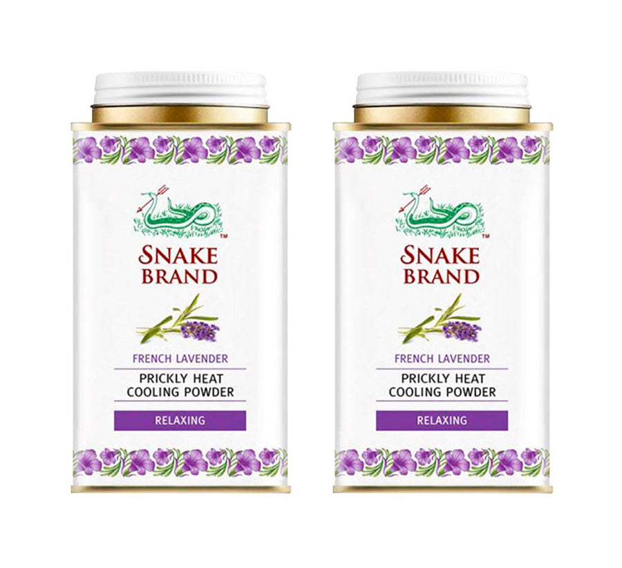 Snake Brand Relaxing Lavender Prickly Heat Cooling Powder 140g ~ Pack of 2