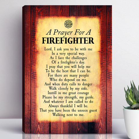 A Prayer For A Firefighter Canvas Wall Art