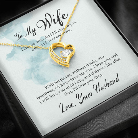 Gift For Wife - Forever Love Necklace, White Gold / Yellow Gold Finish!