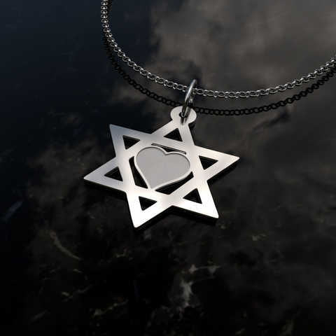Image of Star Of David Heart Silver Necklace