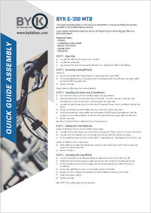ByK Bikes E-350 MTB Assembly Instructions PDF