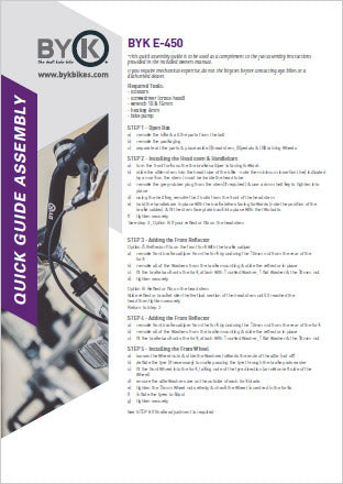 ByK Bikes E-450 Assembly Instructions PDF