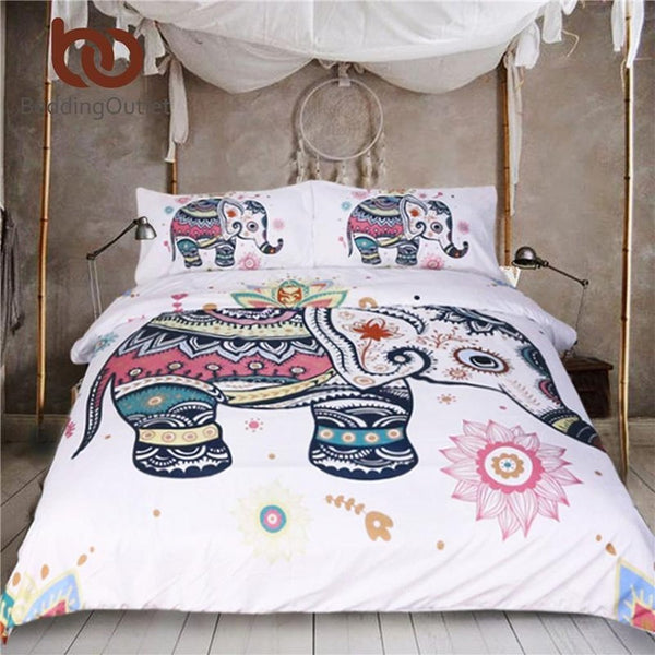 BeddingOutlet 3 Pcs Rainbow Mandala Elephant Duvet Cover Set - Prestigehomecollections