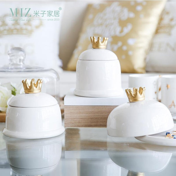Ceramic Crown Storage Box-Prestigehomecollections