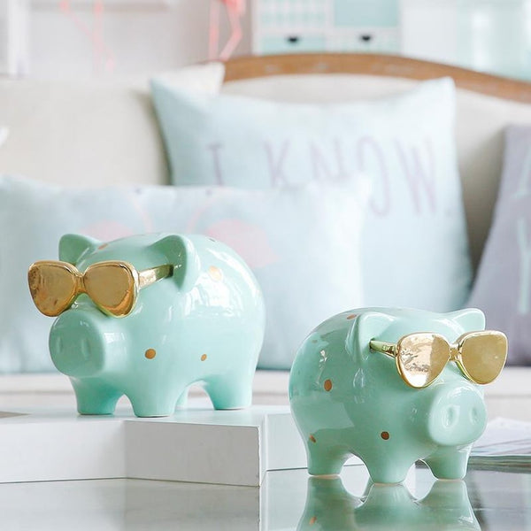 Ceramic Piggy Bank with Golden Sunglasses-Prestigehomecollections