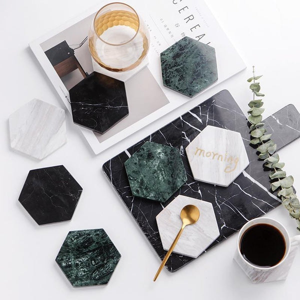 Chic Green Marble Pattern Ceramic Drink Coaster-Prestigehomecollections
