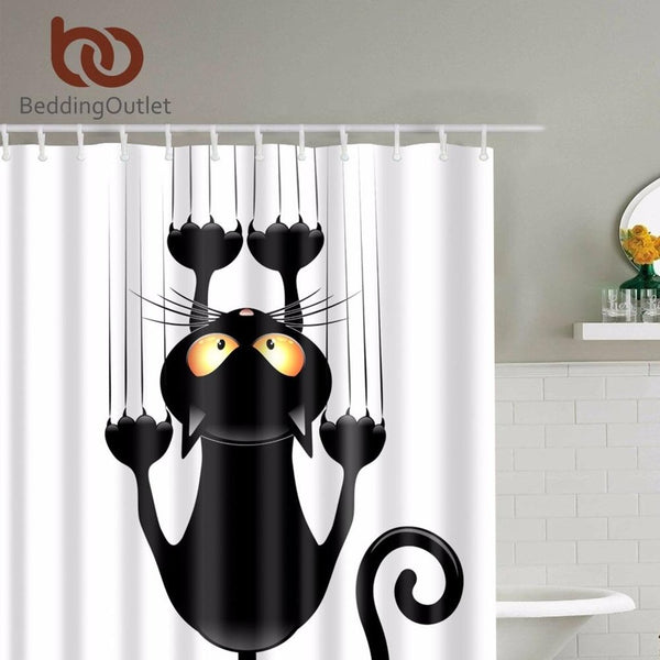 Cute Black Cat Hanging On Shower Curtain-Prestigehomecollections