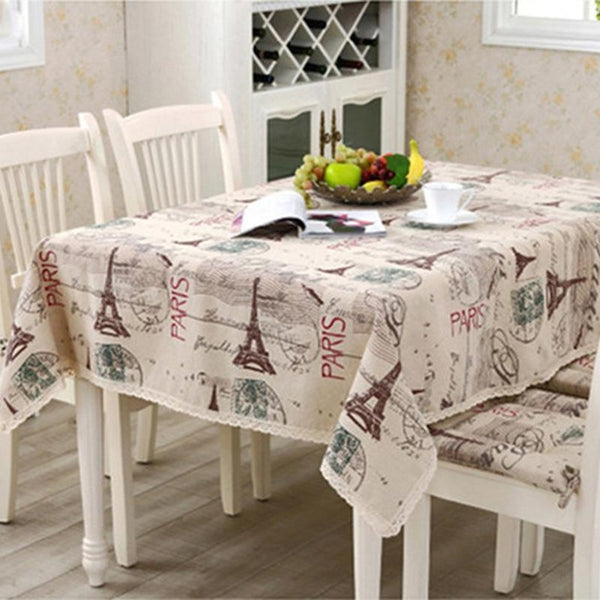 Eiffel Tower Linen Cotton Table Cloth-Prestigehomecollections