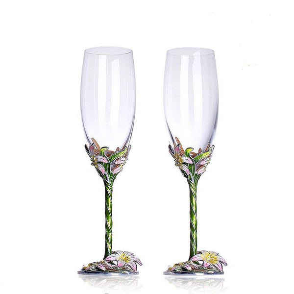 Enamel flowers champagne glass-Prestigehomecollections