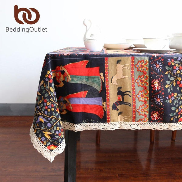 Ethnic Cotton Linen Table Cloth-Prestigehomecollections
