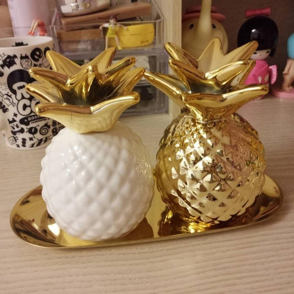Europe Gold Pineapple Ceramic Piggybank-Prestigehomecollections