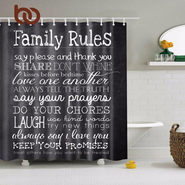 Family Rules Shower Curtain-Prestigehomecollections