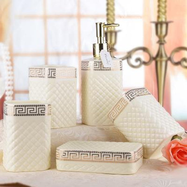 Five-piece Ceramic Set White Bathroom Set-Prestigehomecollections