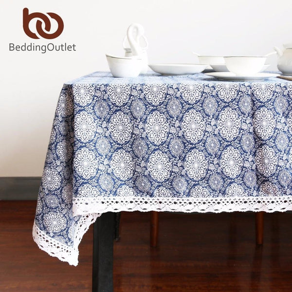 Flower Tablecloth Cotton And Linen Dinner Table Cloth - Prestigehomecollections