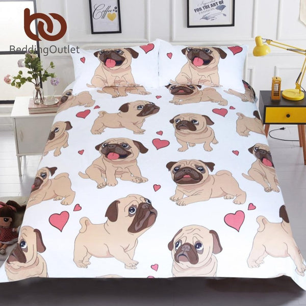 Lovely Pug Bedding Set 3Pcs - Prestigehomecollections
