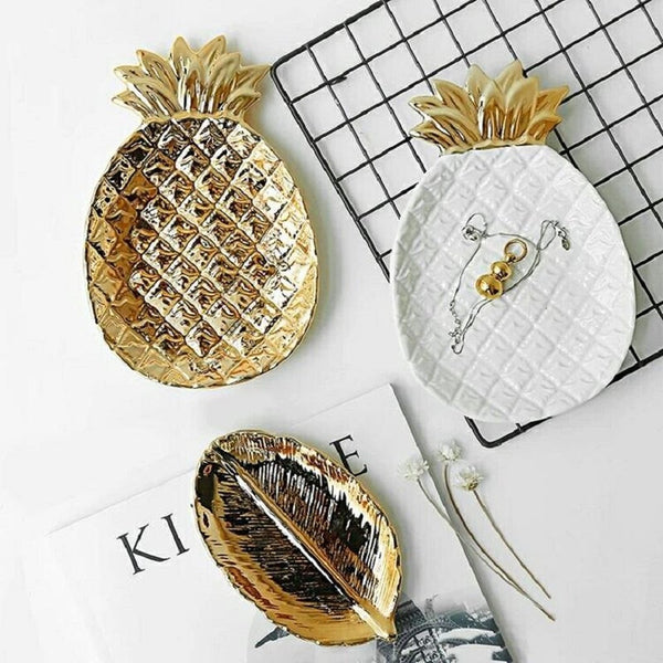 Luxury Gold White Ceramics Pineapple Jewelry Tray-Prestigehomecollections