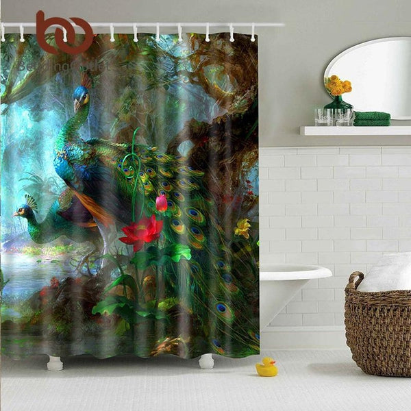 Peacocks Waterproof Polyester Fabric Shower Curtain-Prestigehomecollections