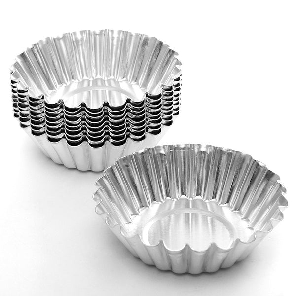 10pcs/set Flower Cake Egg Tart Aluminium Mold