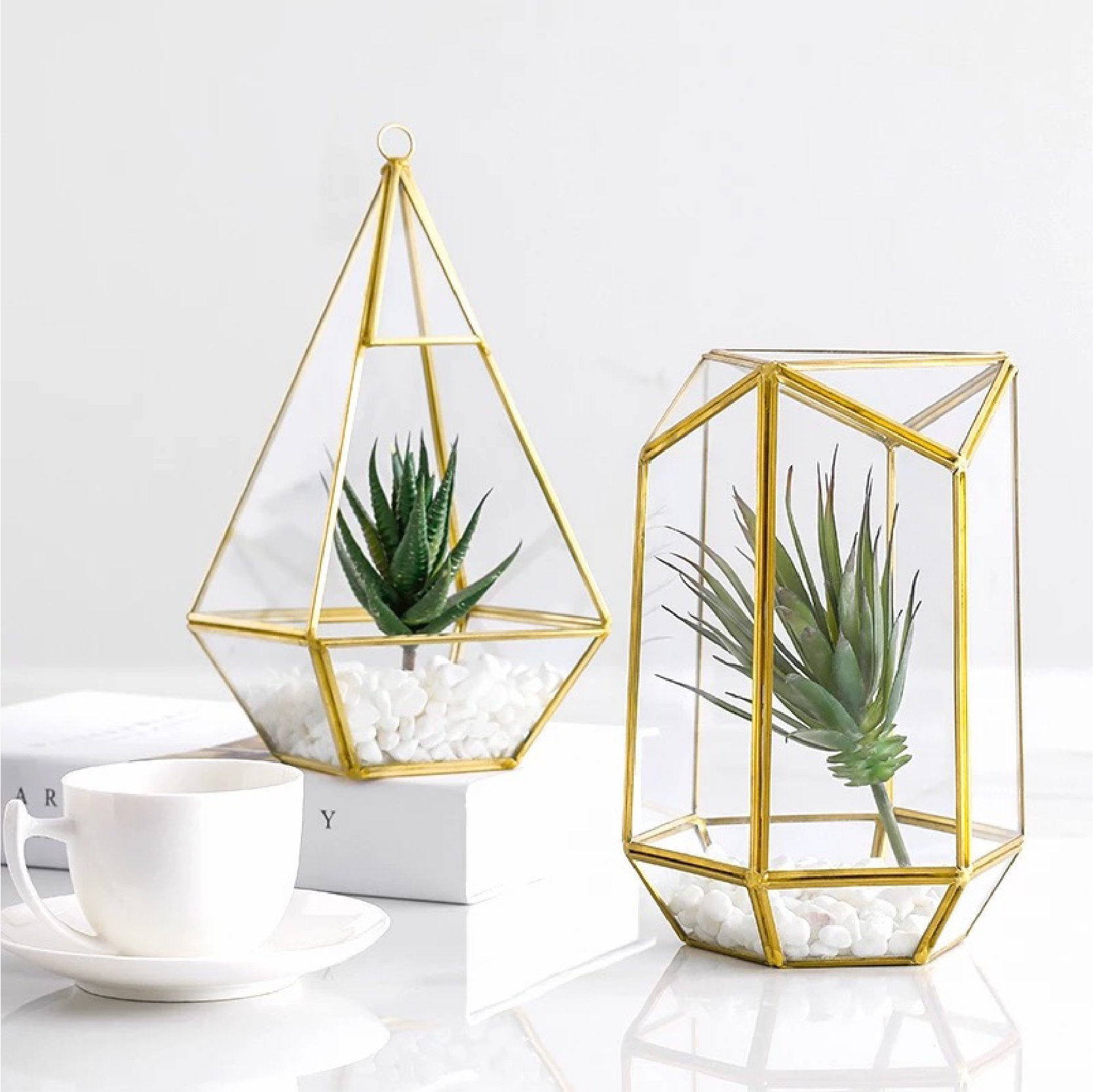 Geometric Gold Metal Glass Terrarium Giftory Co