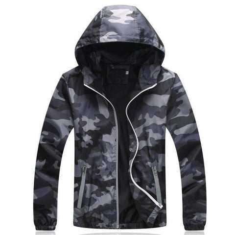 Hooded Camouflage Windbreaker Jacket