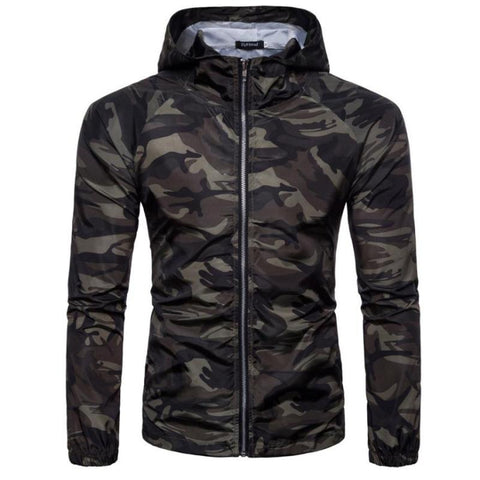 Slim Fit Camo Windbreaker