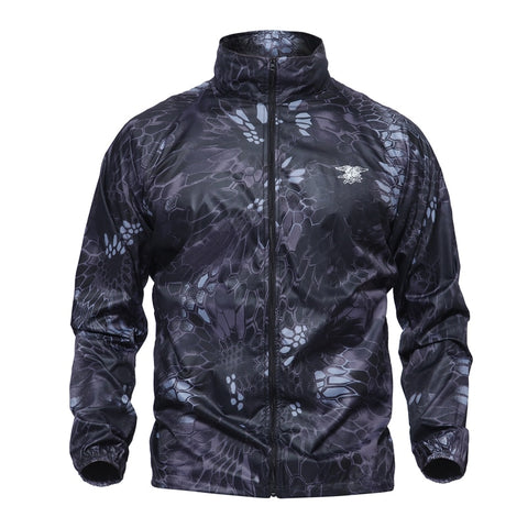 Camo Standing Collar Windbreaker Jacket