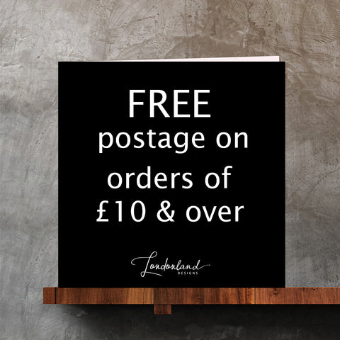 free postage on orders of £10 and over