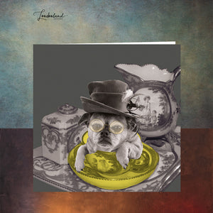 Afternoon Tea For One, Dog in Teacup Greeting Card
