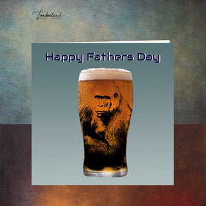 Alpha Male Fathers Day Card with gorilla ape in a pint glass