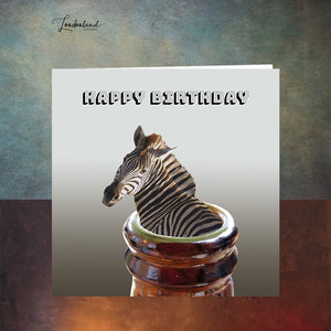 Beer Goggles, zebra in a bottle Birthday Card