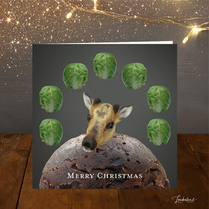 Baby Reindeers Dinner Christmas Card Brussel Sprouts & Pudding