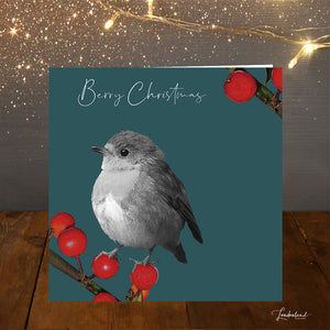 Berry Teal, Robin & Berries Christmas Card