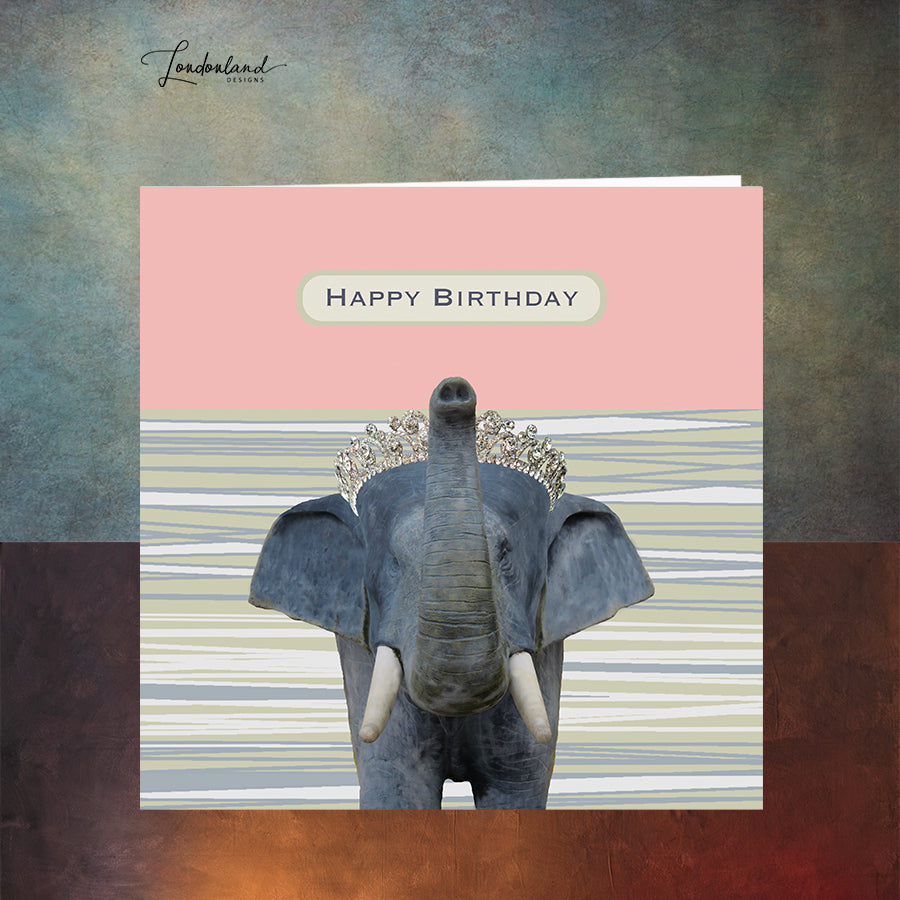 Elephants Never Forget, Elephant with Diamond Tiara  Birthday Card