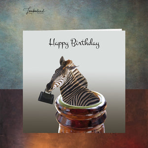 Friday Night Zebra in a beer bottle with handbag Birthday Card