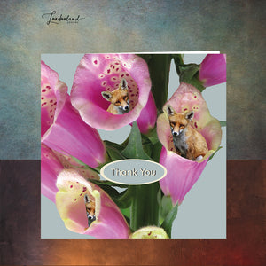 Foxglove Thanks Fox Floral Thank You Card