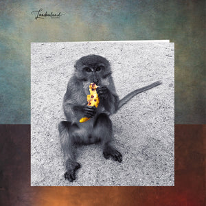 Grateful Monkey with banana Greeting Card