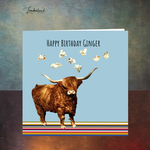 Ginger Moo Clouds Birthday Card