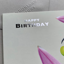 Hummingbird Birthday - Silver Foil Bird Card - HB01