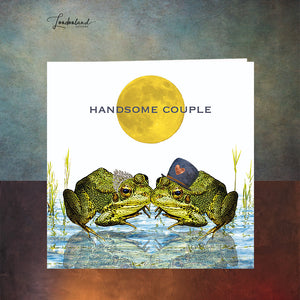 Handsome Couple Wedding Anniversary Engagement Card with Frog Toad in a Pond