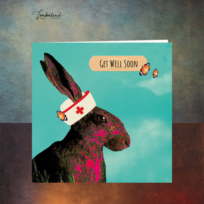 Nurse Hare Get Well Soon Card