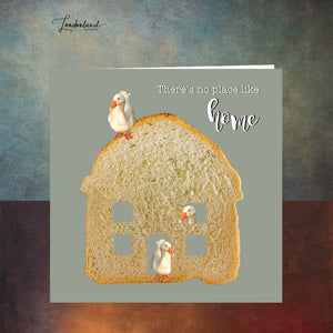 No Place Like Home Moving Card with Goose in Bread House