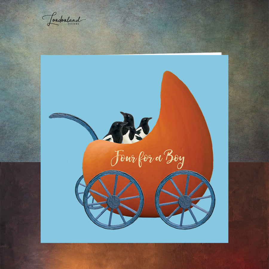 Pumpkin Pram Boy New Baby Card with four magpies