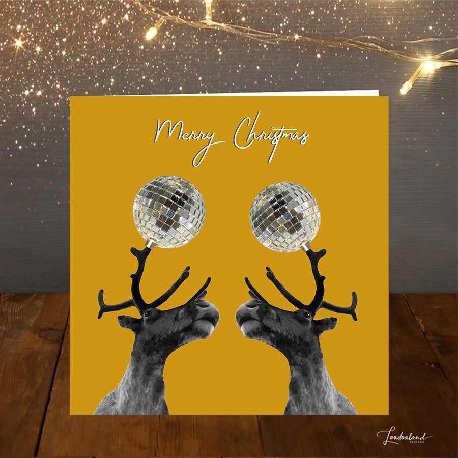 Reindeer Disco Balls mustard yellow Christmas Card