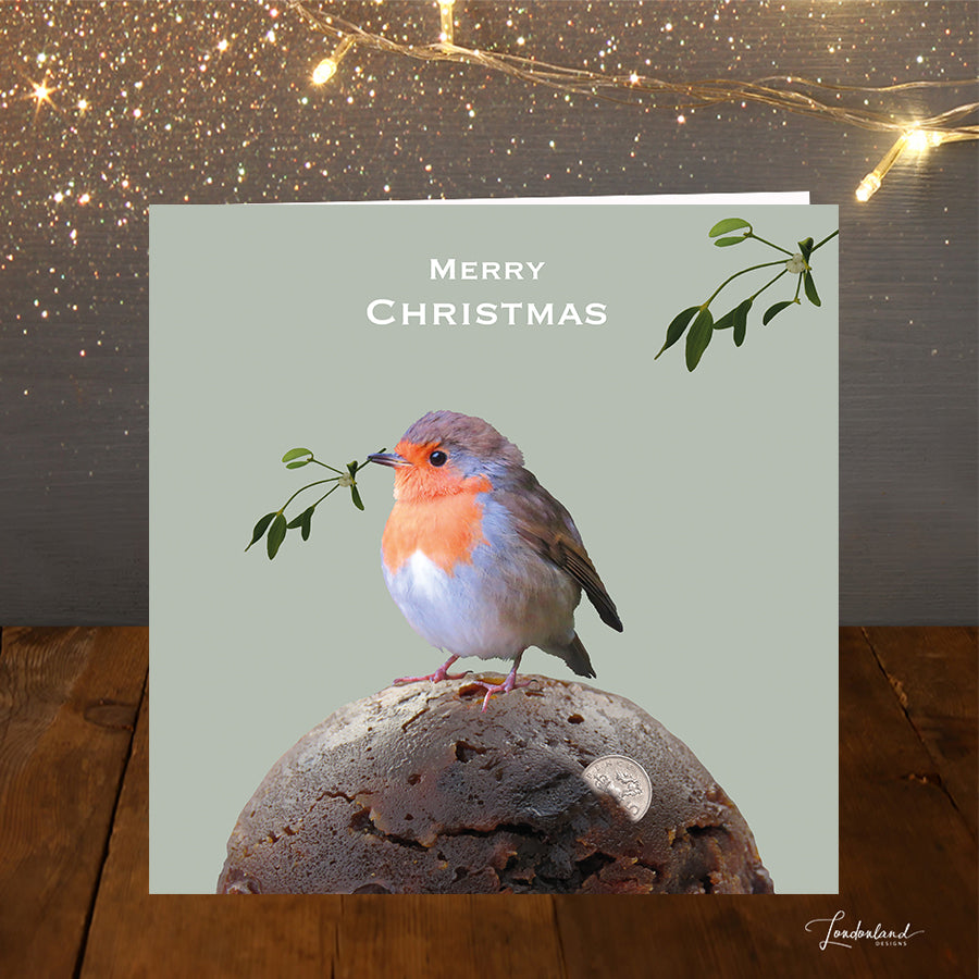 Robin Kisses Christmas Card