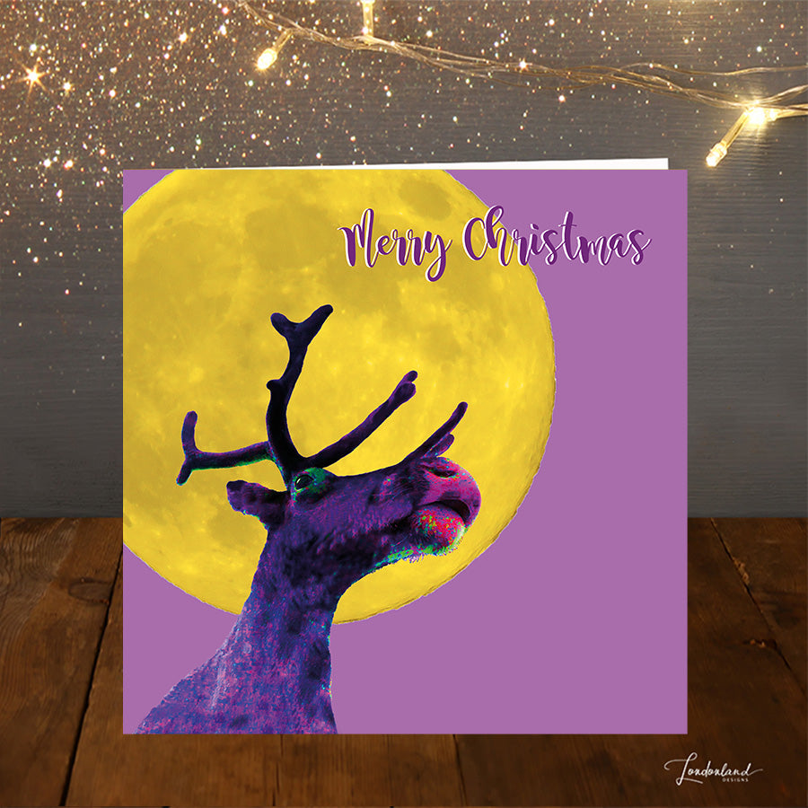 Reindeer Moon Purple Christmas Card