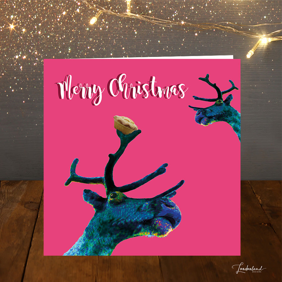 Reindeer Pie, bright pink Christmas Card with mince pies