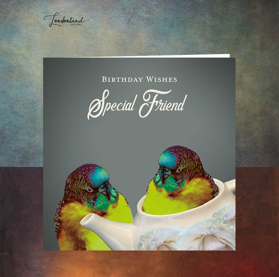 Teapot Friends, Budgie birds in a teapot, Special Friend Birthday Card
