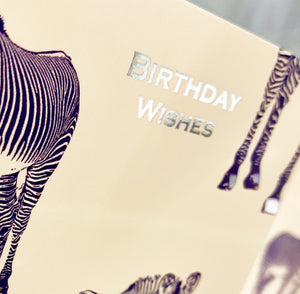 Zebra Crown - Silver Foiled Birthday Card - ZC02